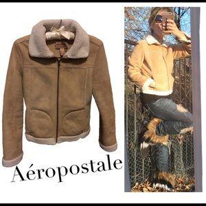 Aeropostale | Faux Shearling/Suede Jacket - Tan